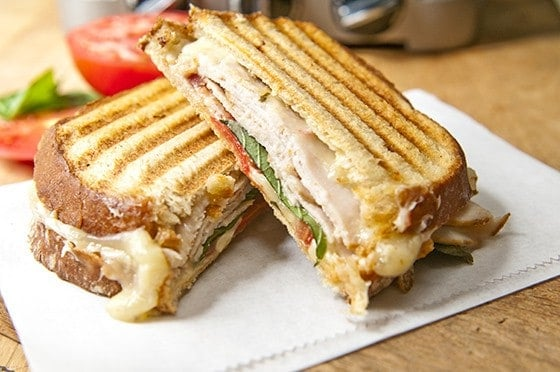 SMOKED TURKEY, PEPPER JACK CHEESE, AND BASIL PANINI -