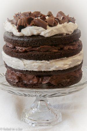 Chocolate ganache and sweetened whip cream between the layers of this chocolate cake make this a special cake for a special occasion.