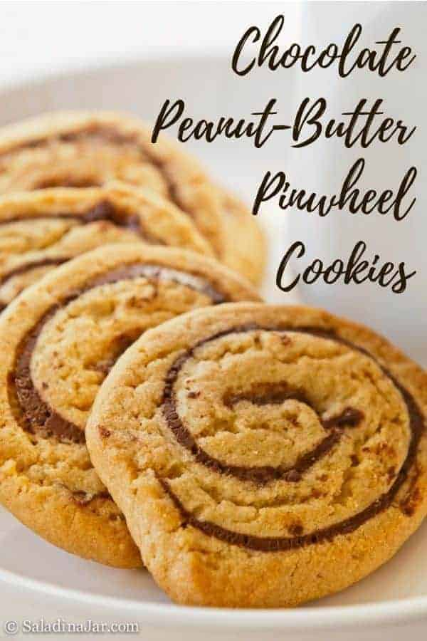 Chocolate-Peanut Butter Pinwheels combine peanut butter dough with a layer of melted chocolate, which are then rolled into a jellyroll shape before slicing.