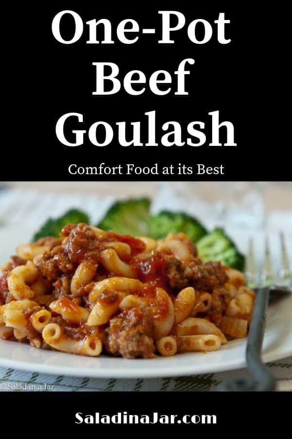One-Pot Beef Goulash is a combination of ground beef, macaroni, pasta sauce and cheese. Stir together and add catsup for delicious comfort food.