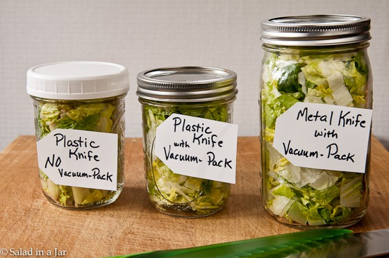 lettuce comparison with plastic knife