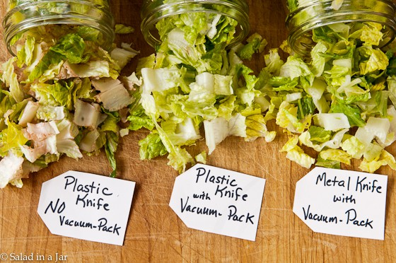 plastic knife and lettuce results