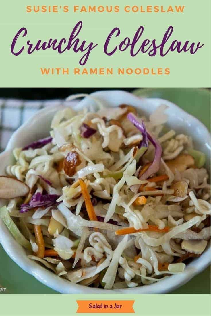 A popular coleslaw in our family at holidays and cookouts. Ramen noodles are the secret ingredient. #cabbage #slaw #almonds, #coleslaw mix #salad #recipe