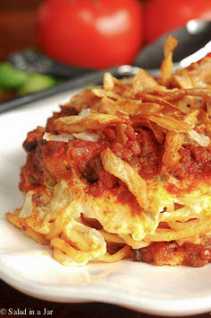 Baked Spaghetti Topped with French Fried Onion Rings