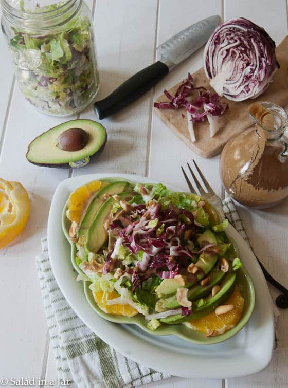 radicchio salad with olive, lettuce and dressing