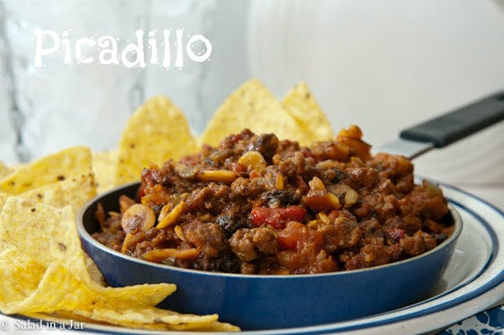 Picadillo served with chips
