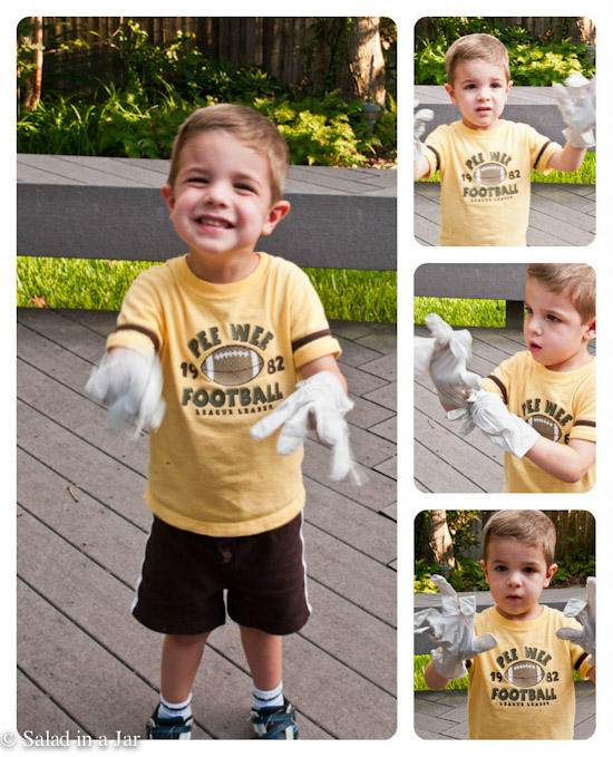 kids having fun with disposable gloves