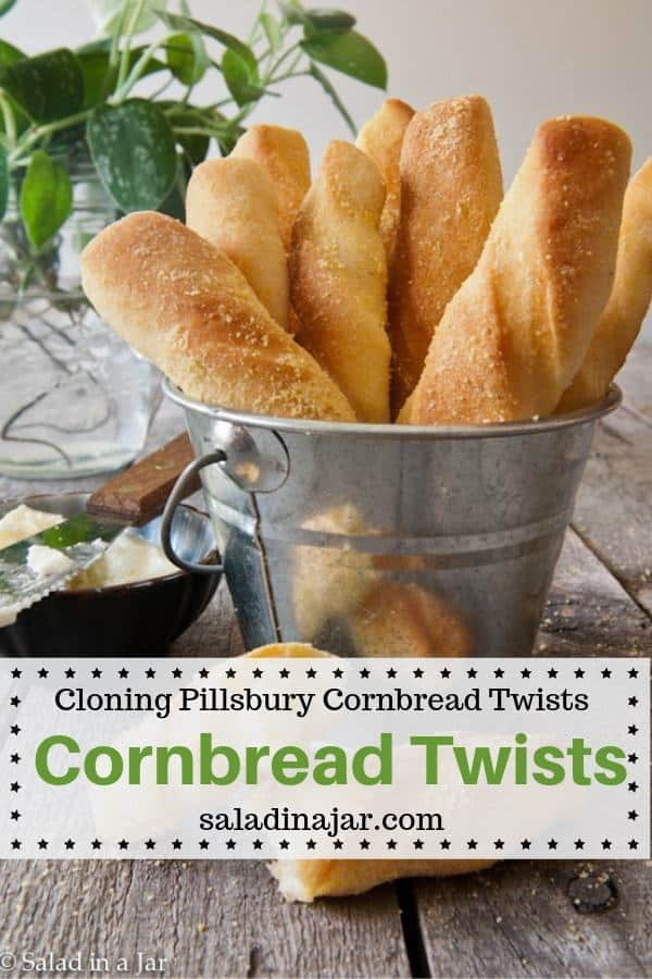 Yeasty cornbread sticks similar to the cornbread twists Pillsbury used to sell next to canned biscuits.