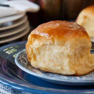SWEET POTATO DINNER ROLLS WITH HONEY BUTTER GLAZE