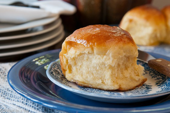 SWEET POTATO DINNER ROLLS WITH HONEY BUTTER GLAZE