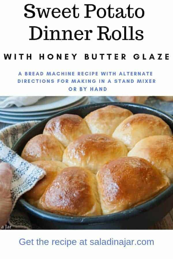 Light and fluffy dinner rolls made with sweet potatoes and baked with a honey-butter glaze. Great slider buns without glaze.