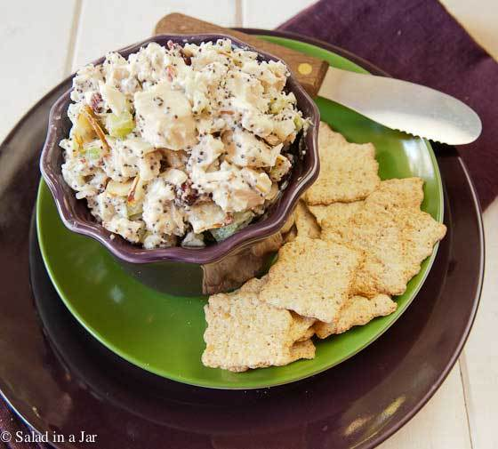 Poppy Seed Chicken Salad served with crackers