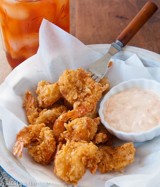 REALLY CRUNCHY FRIED SHRIMP-in a bowl with remoulade sauce
