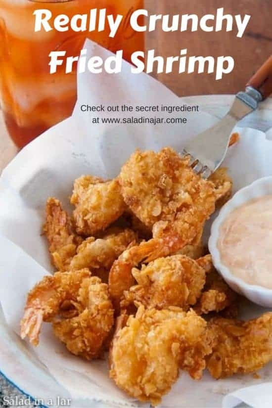 Really Crunchy Fried Shrimp shown in a bowl with remoulade sauce