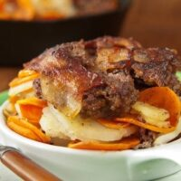 FOUR-LAYER MEAT AND POTATOES IN A SKILLET--ready to eat