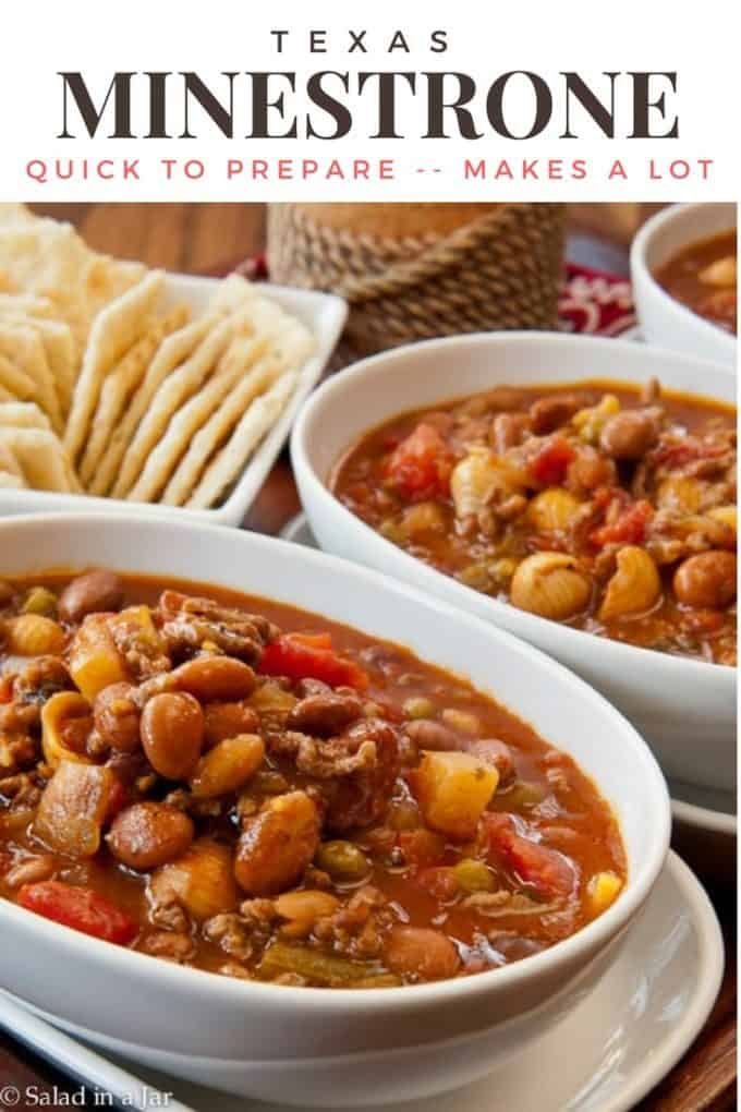 two bowls of Texas Minestrone Soup