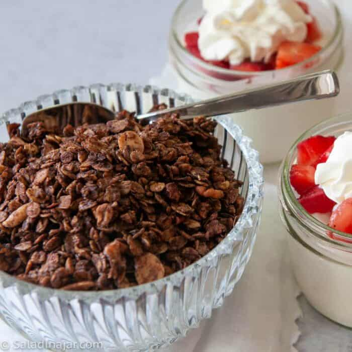 chocolate olive oil granola ready to sprinkle over yogurt parfaits