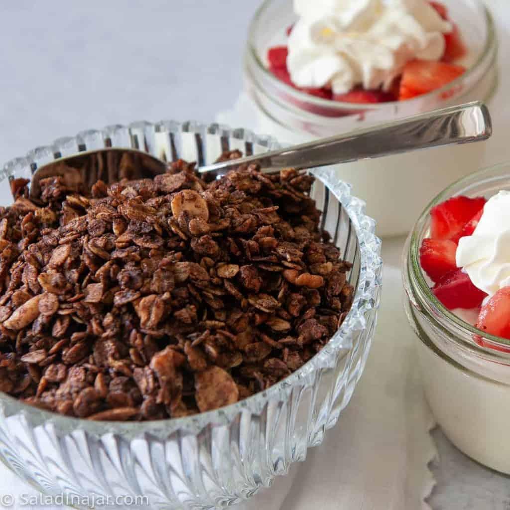 chocolate olive oil granola ready to sprinkle over yogurt parfaits