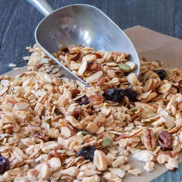 olive oil granola with a scoop