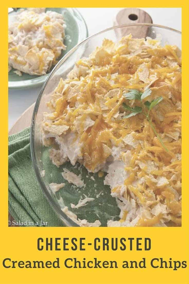 Creamed chicken layered with chips and cheese--a kid friendly dish perfect for using leftover chips and chicken or turkey