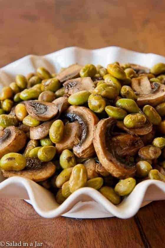 ROASTED EDAMAME AND MUSHROOMS in a serving dish