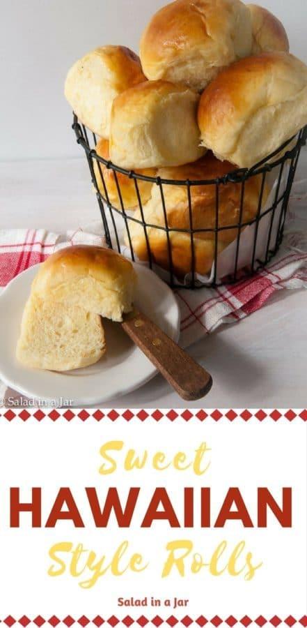 pinterest image for Sweet Hawaiian Style Rolls, Hawaiian Roll sliders. yeast dough, bread machine,
