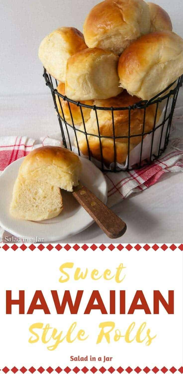 A sweet and soft yeast roll in the same style as the crowd favorite Hawaiian bread at the grocery store. #breadrecipes #breadmachinerecipes #sweethawaiianrolls #sliderbuns #dinnerrolls