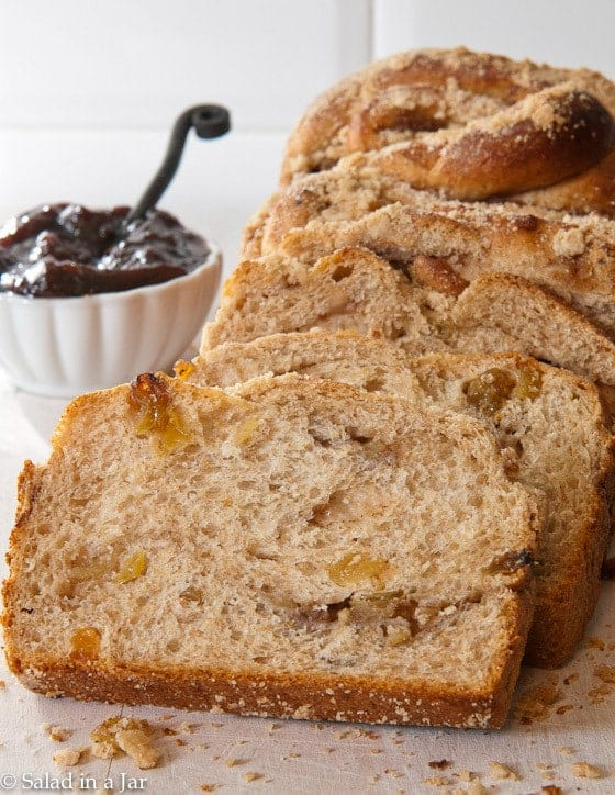 A sweet yeast bread to mix and knead in a bread machine, then baked in a conventional oven.