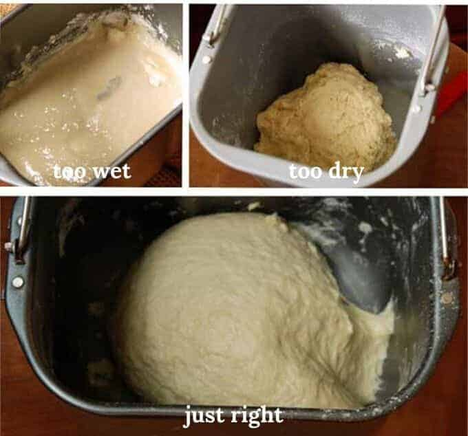 bread machine dough, too wet, too dry, and just right