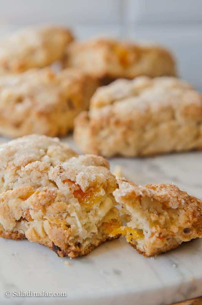 White Chocolate, Dried Apricot and Walnut Scones--ready to eat