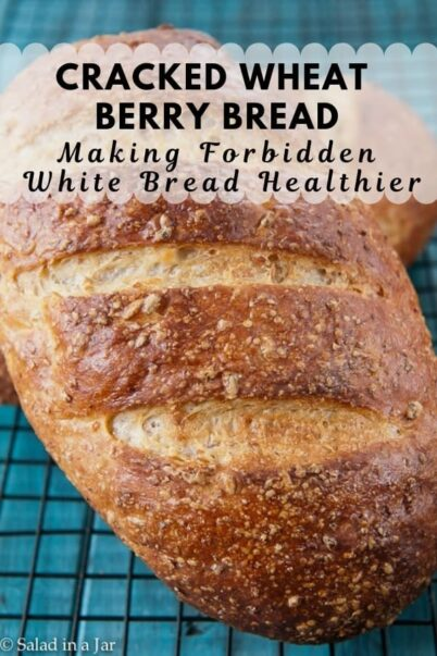 Cracked Wheat Berry Bread on a cooling rack