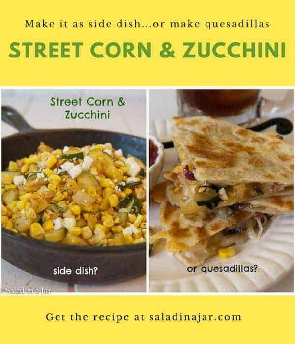 Spicy street corn and finely chopped zucchini combine to make a flavorful side dish or quesadilla filling