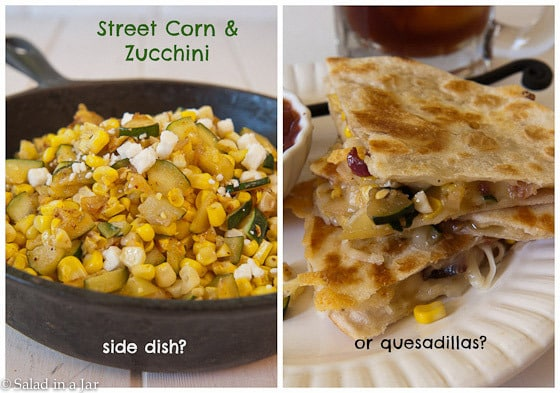 Street Corn and Zucchini Quesadillas