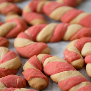 Candy Cane Cookies on a cookie sheet ready to eat