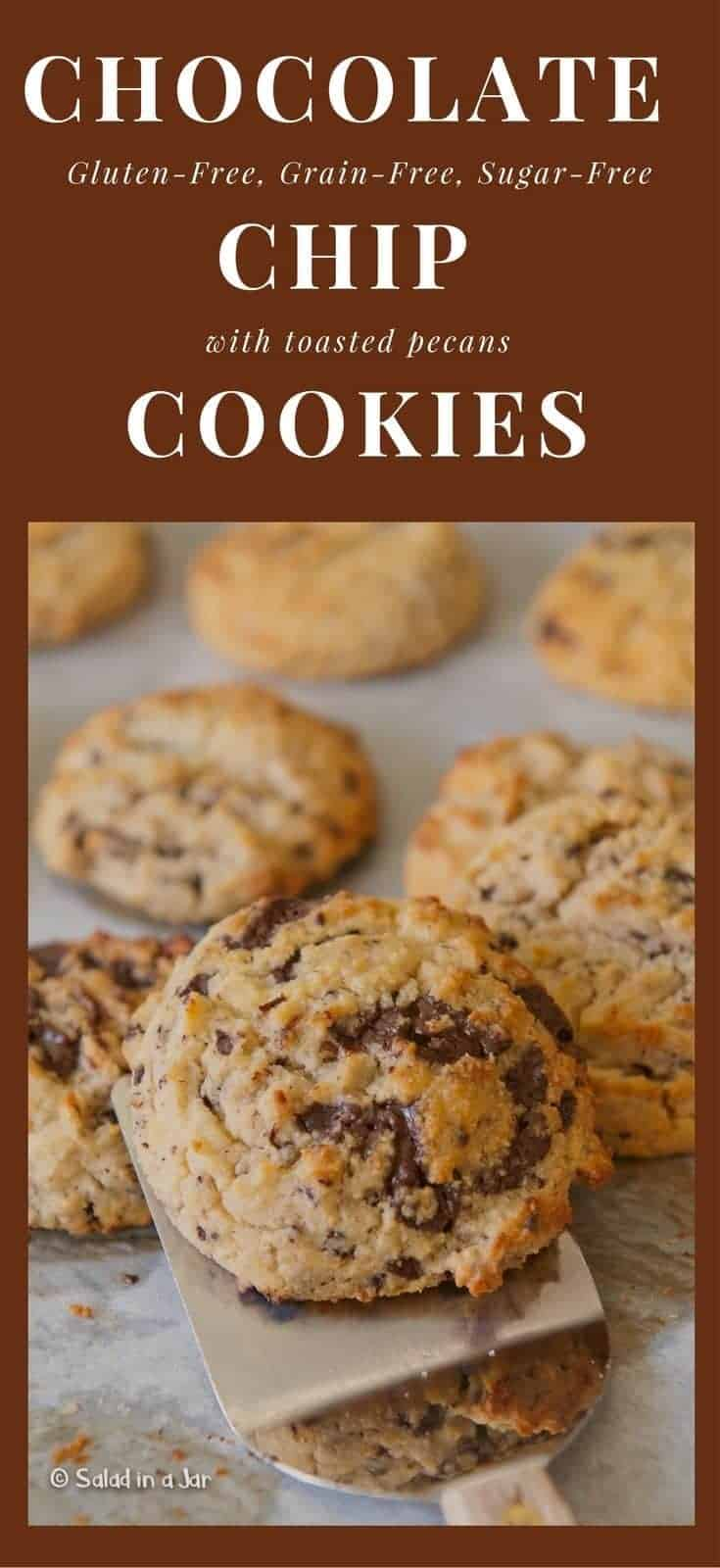 Glutin-Free, Grain-Free, Sugar-Free Chocolate Chip Cookies--recipe includes almond flour, 85% chocolate and unsweetened applesauce