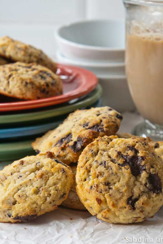 chocolate chip cookies with a mug of hot mocha