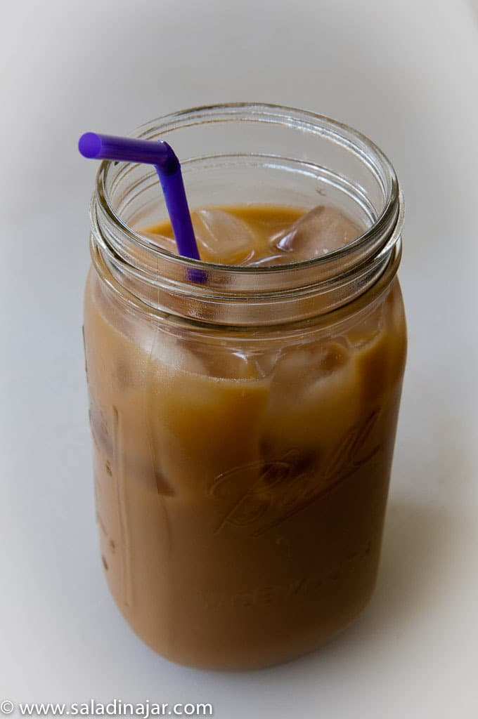 25-Calorie Iced Hazelnut Latte-in a Mason jar with a straw