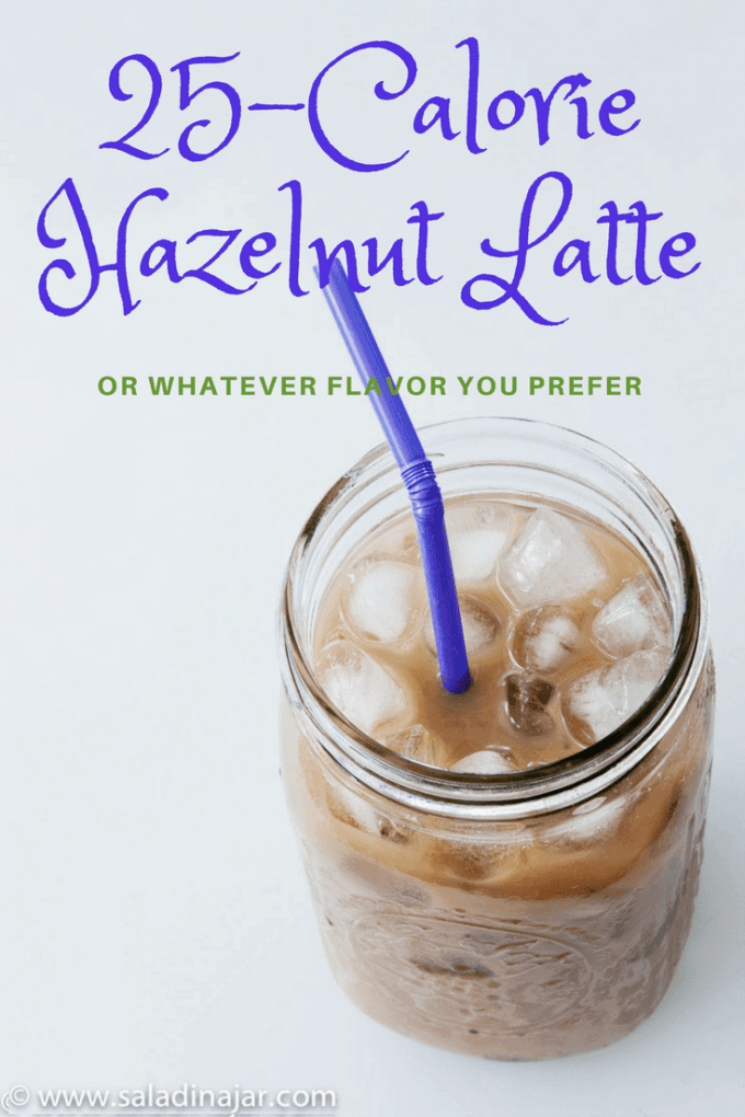 Hazelnut-flavored coffee latte made with cashew milk and iced coffee concentrate