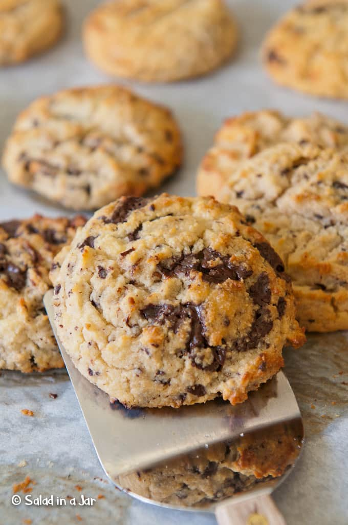 Grain-Free, Glutin-Free, and Low-Carb Chocolate Chip Cookies made with Almond Flour, 85% chocolate, pecans, yogurt and unsweetened applesauce