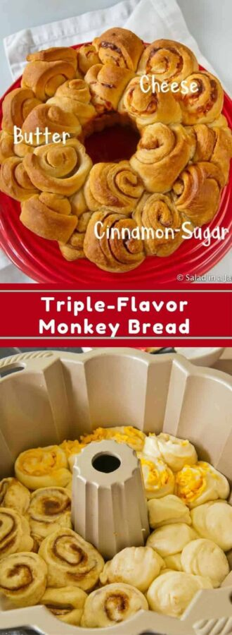 Thriple Flavored Monkey Bread, cheese, butter, cinnamon-sugar, bread machine