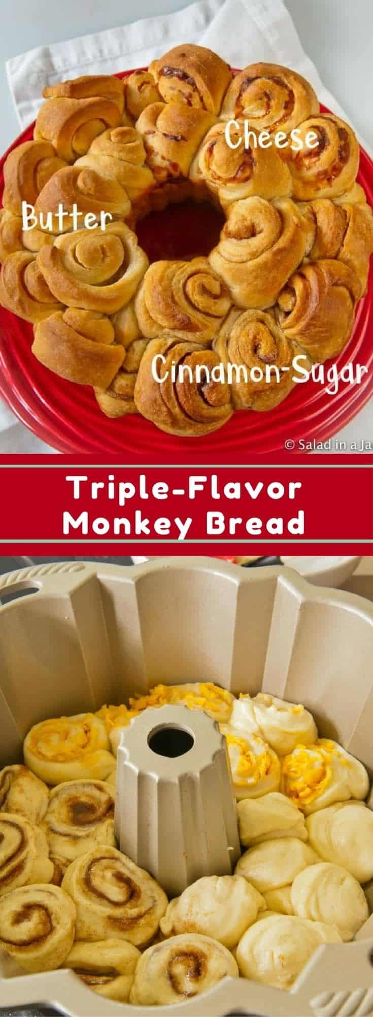 Triple-Flavor Monkey Bread (yeast) with 3 different flavors: butter, cheese, cinnamon-sugar; mixed and kneaded in a bread machine