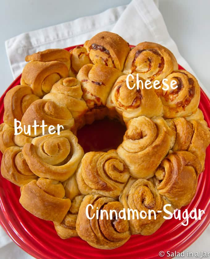 Monkey Bread (yeast) with 3 different flavors: butter, cheese, cinnamon-sugar; mixed and kneaded in bread machine
