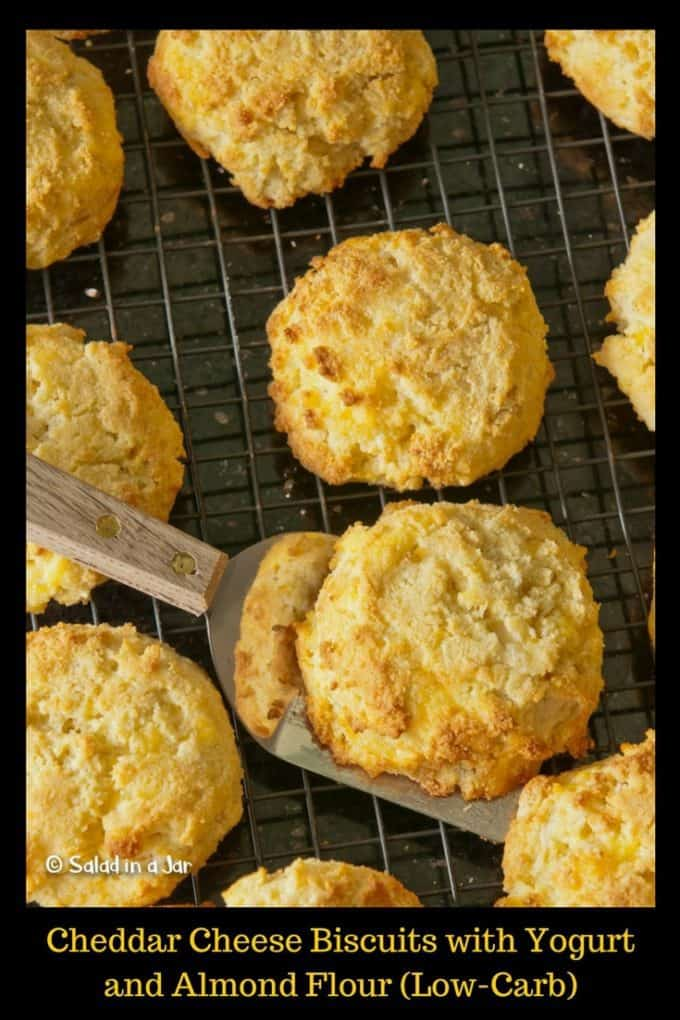 Cheddar Cheese Biscuits with Yogurt and Almond Flour (Low-Carb and Grain-Free) on a rack