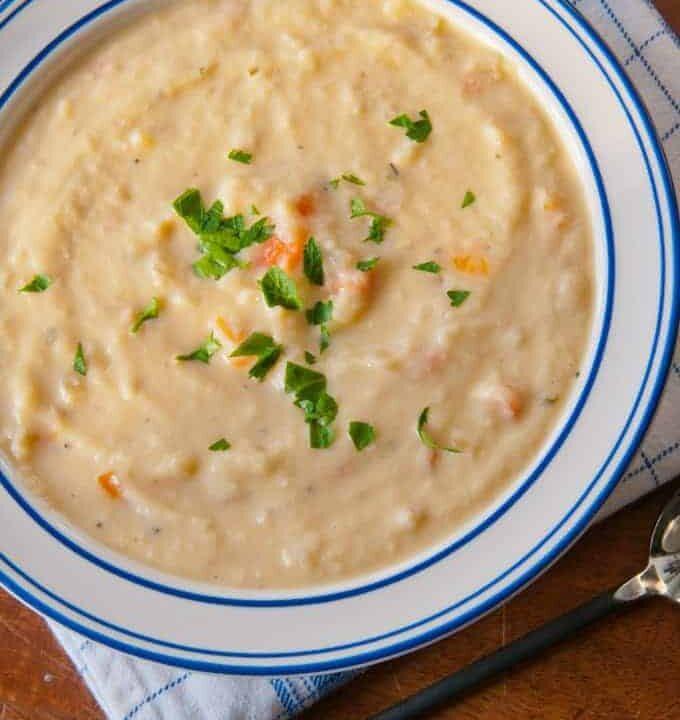 Cheesy Cauliflower soup in a bowl