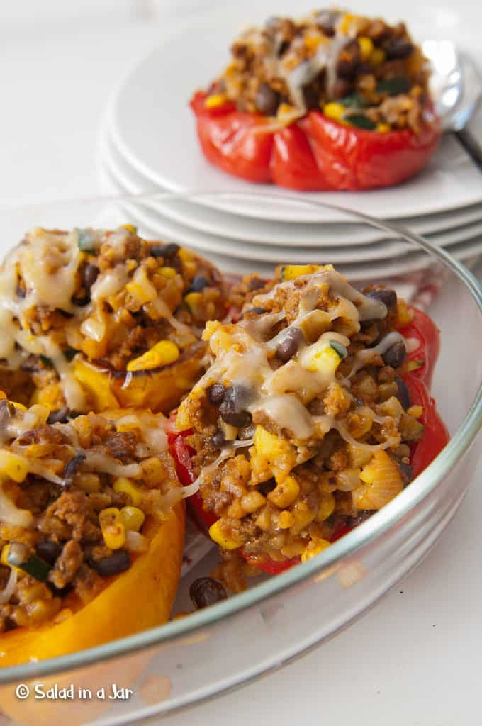 Dish of Southwestern Stuffed Peppers Without Rice