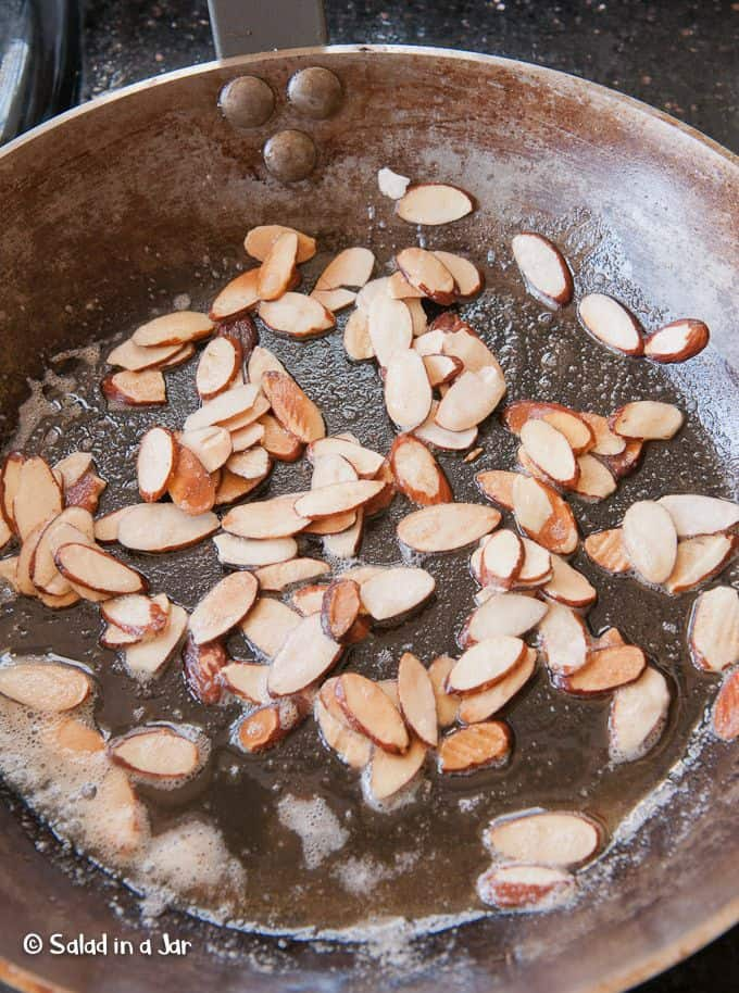 toasting almonds in a skillet