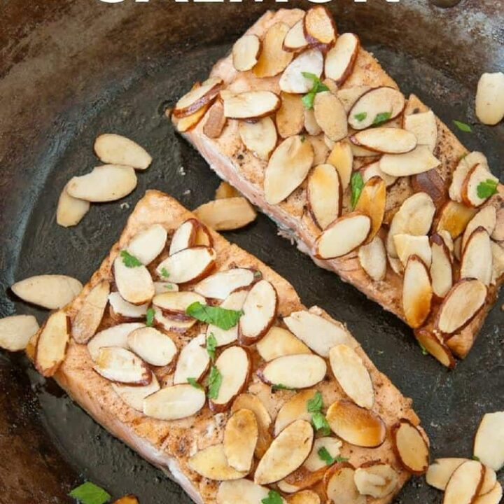 Almond Salmon for Two in a skillet