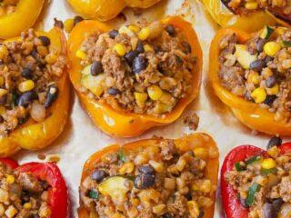 Southwestern Stuffed Peppers on tray