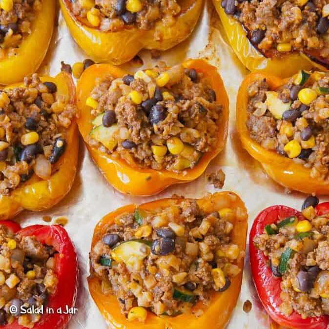 Southwestern Stuffed Peppers on tray