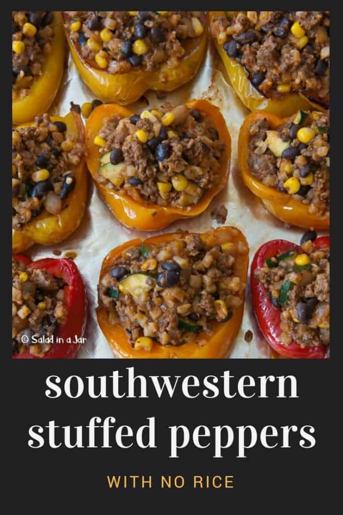 tray of Southwestern Stuffed Peppers with No Rice